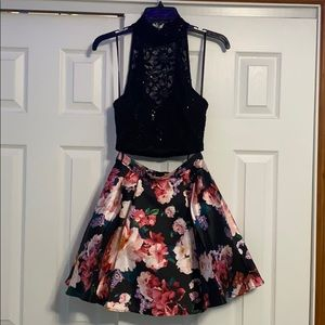 Macy's Juniors' 2Pc Lace Halter Top & Floral Skirt